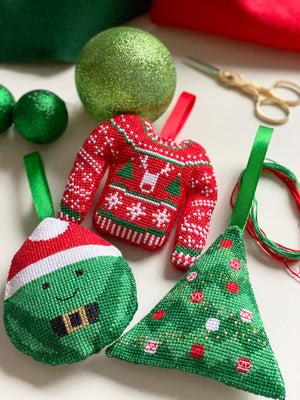 Christmas jumper bauble cross stitch kit