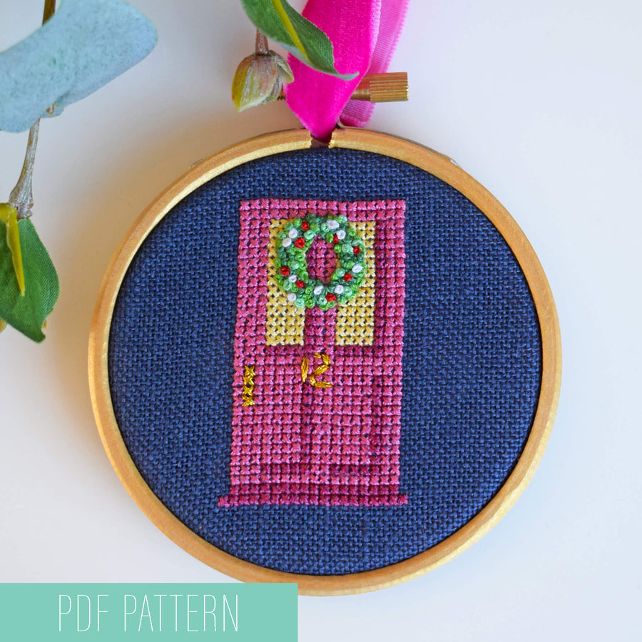 Door wreath Christmas bauble cross stitch PDF patterns