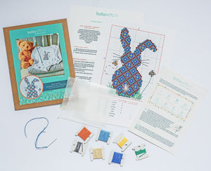 Things included in the new baby cross stitch bunny kit