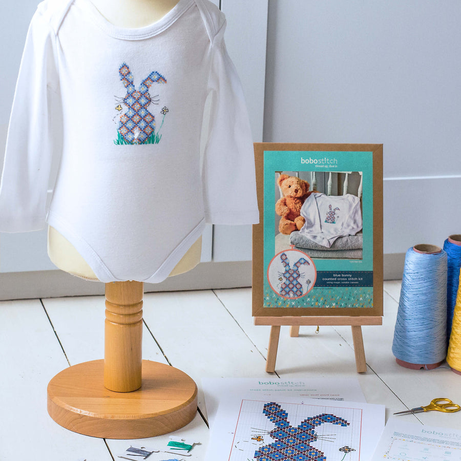 Blue bunny cross stitch kit using soluble canvas