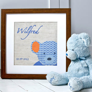Blue teddy cross stitch