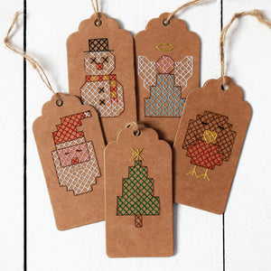 Christmas cross stitch gift tag set