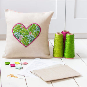 Botanical heart cushion cover cross stitch kit