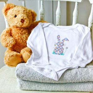 Blue bunny new baby gift cross stitch kit