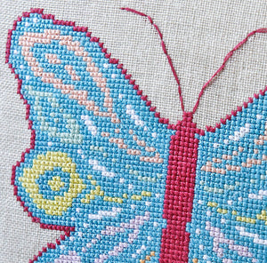 Beautiful spring colour palette in our butterfly cross stitch kit
