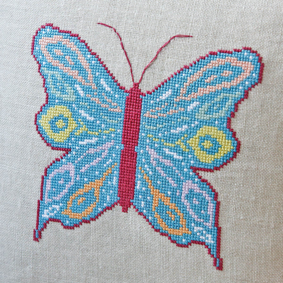 Modern cross stitch butterfly design