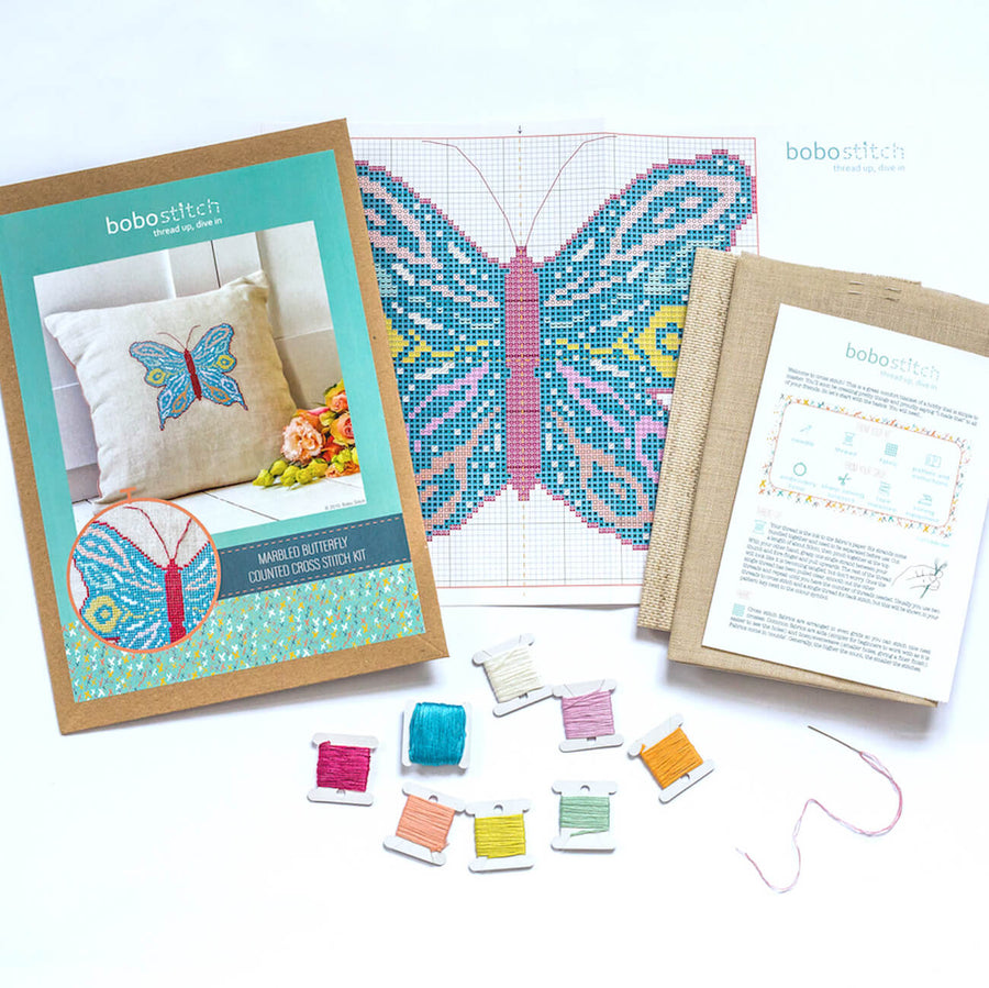 Things included in your butterfly cross stitch kit