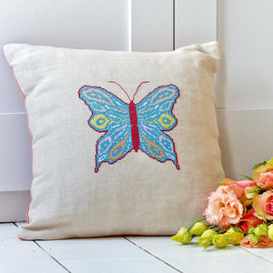 Butterfly cushion cross stitch kit