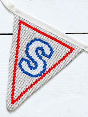 Red, white and blue alphabet bunting PDF patterns
