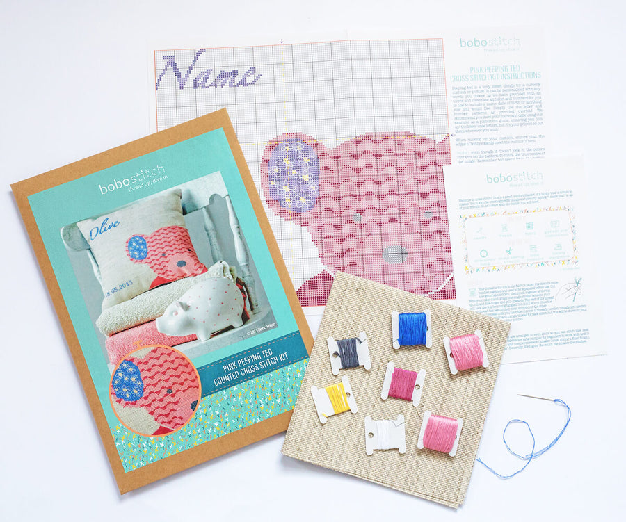 Peeping ted cross stitch kit in pink, blue or brown
