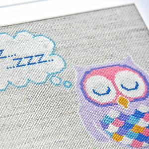 Orla Owl is a super cross stitch project for a modern nursery