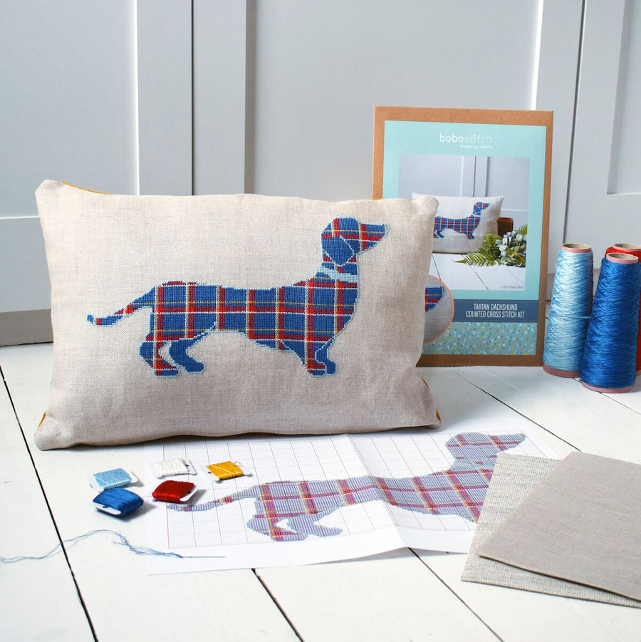 Stitch your own tartan dog cushion