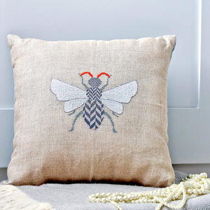 Herringbone hornet modern cross stitch cushion