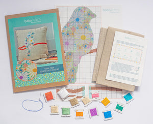 What's included in your kit - floral finch modern cross stitch kit