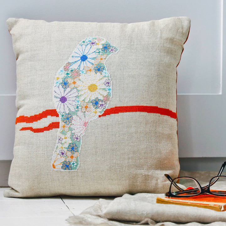 Cross stitch cushion cover kit - floral finch