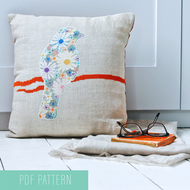 Downloadable floral finch cross stitch pattern