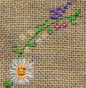 Floral cross stitch close up from the hello jute bag kit