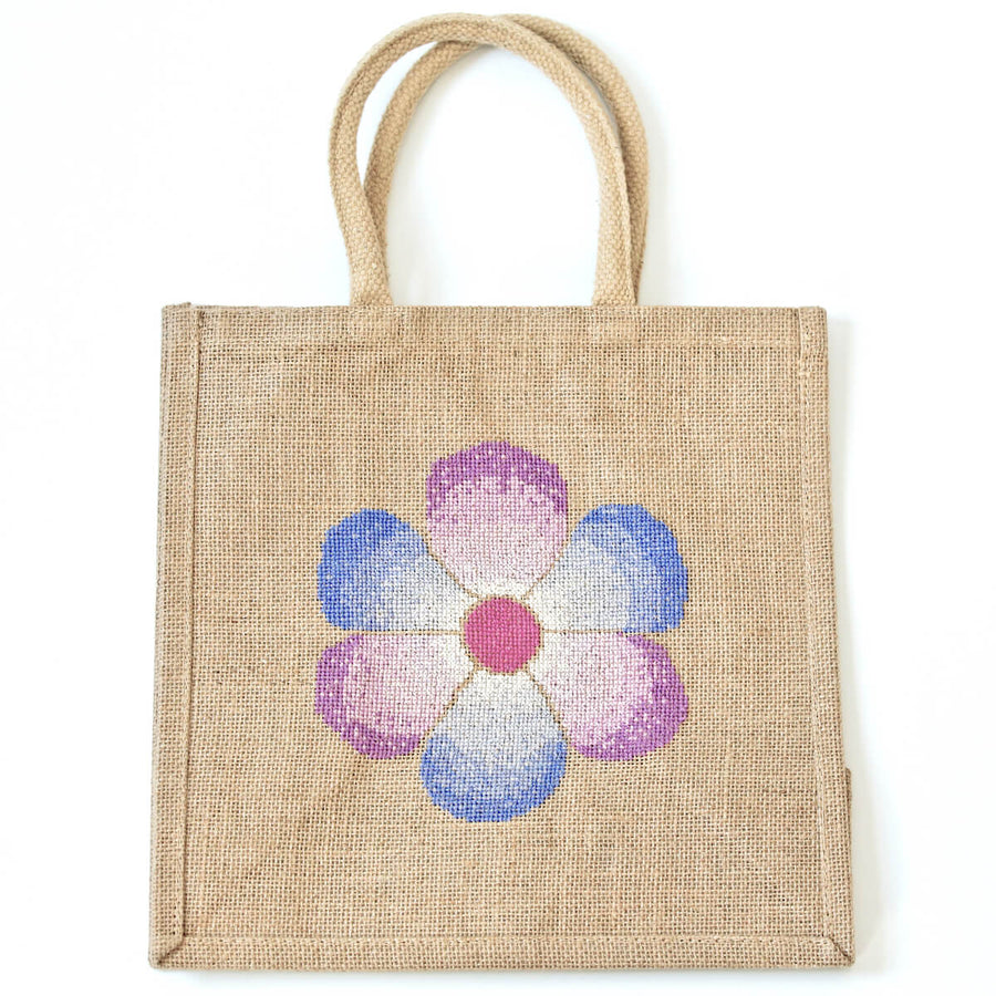 Fading flower shopping bag cross stitch kit