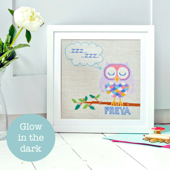 Glow in the dark owl cross stitch kit