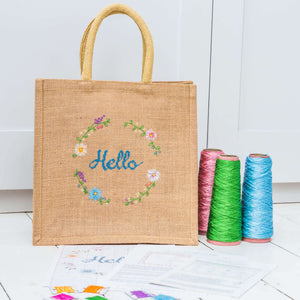 Jute bag cross stitch kit
