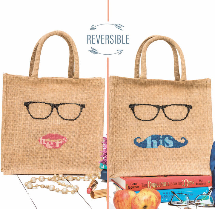 His n hers reversible shopping bag cross stitch kit