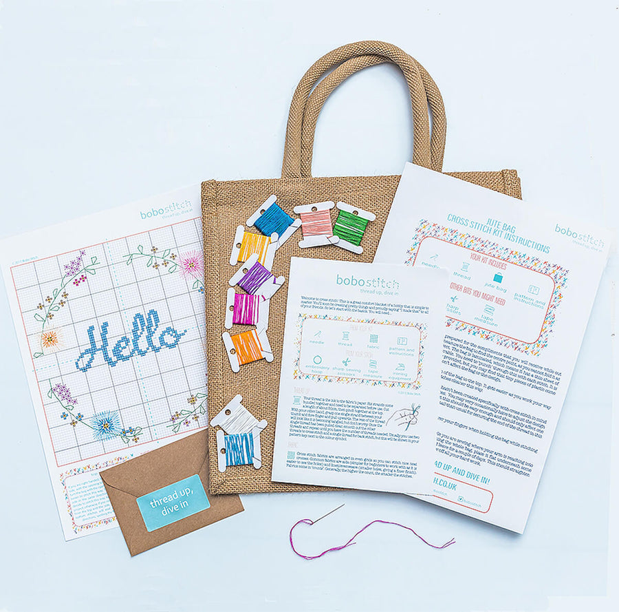 All you need to get stitching this modern cross stitch kit is included