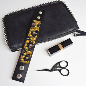 Leopard print cross stitch cuff kit