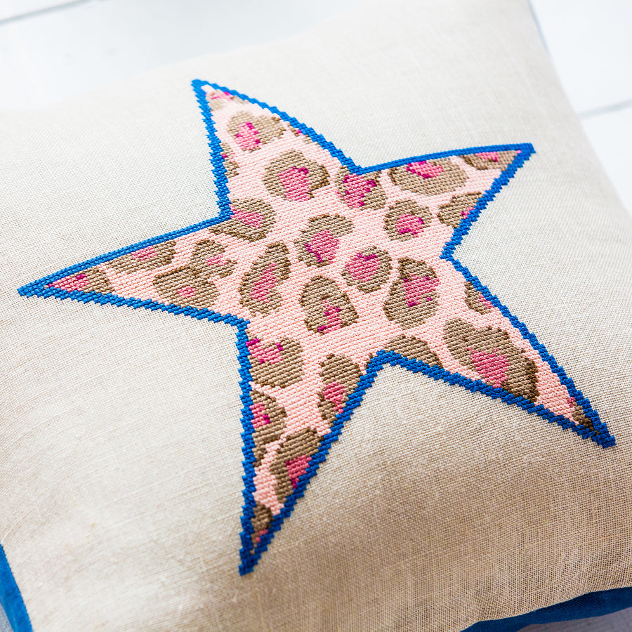 Leopard print star cushion cover cross stitch kit