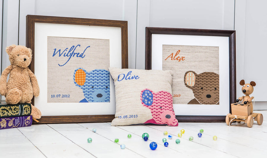 Teddy cross stitch kit can be personalised