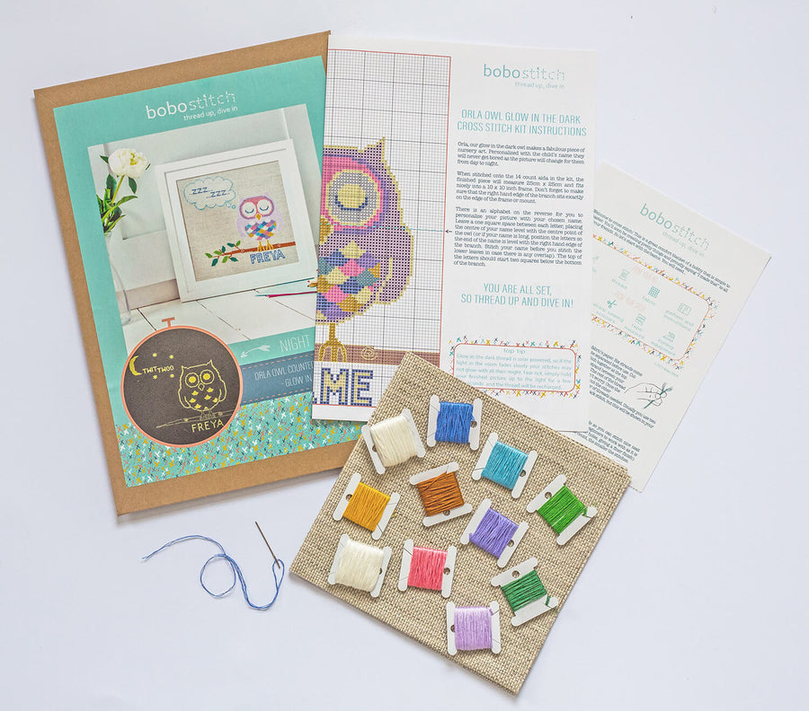 What is included in your glow in the dark cross stitch kit
