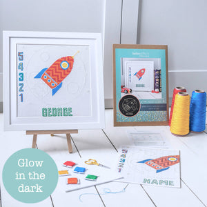 Glow in the dark rocket cross stitch kit