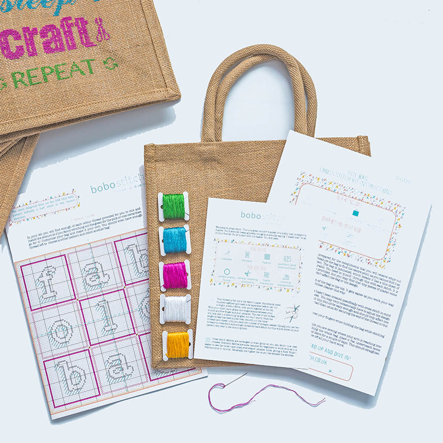 Your kit includes four slogan patterns, lots of coloured thread, full instructions, a jute bag and a sharp needle.