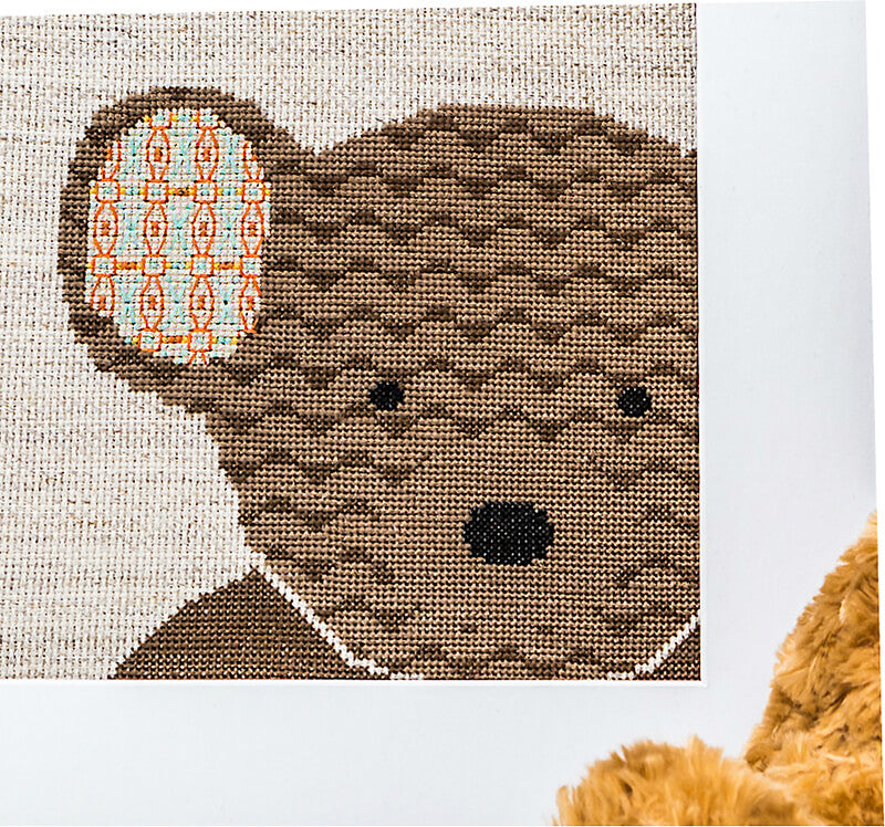 Brown teddy cross stitch