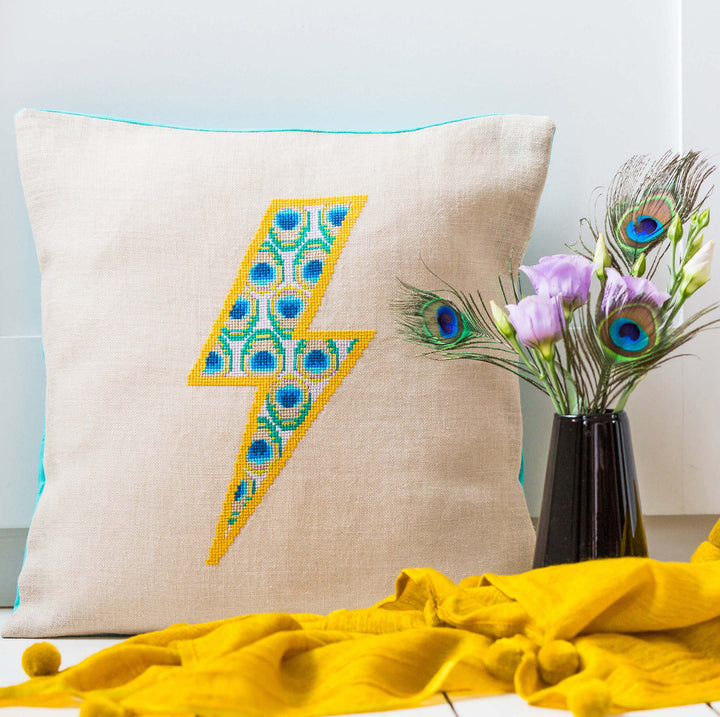 Peacock Lightning cushion cover cross stitch kit