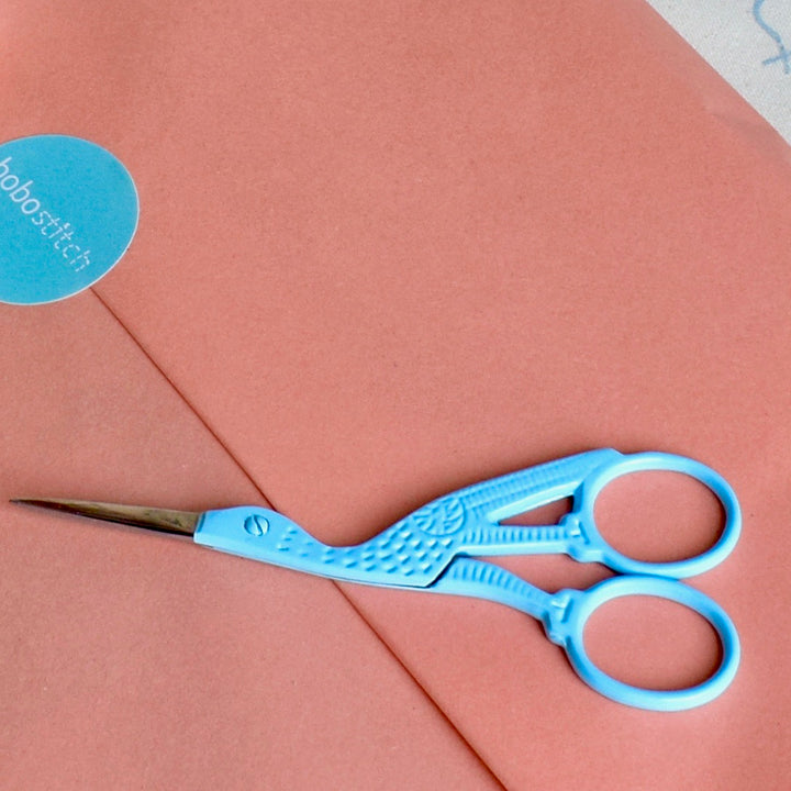 Stork embroidery scissors in light blue