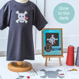 Glow in the dark cross stitch kit - grey skull patch