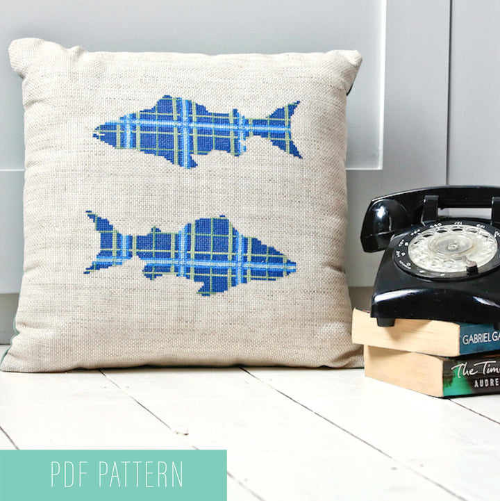 Tartan trout modern cross stitch pattern