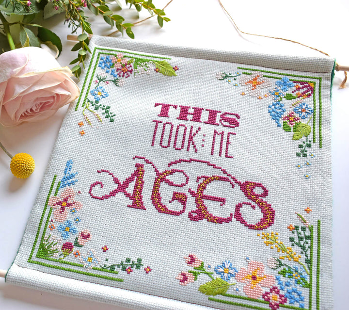This took me ages cross stitch banner kit