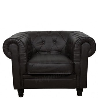 Fauteuil Chesterfield donkerbruin 1-zit