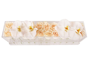 Luxury Lucite Fresh Rose Box with Orchids