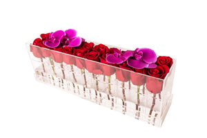 Luxury Lucite Fresh Rose Box with Orchid