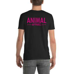 Unisex Simplistic Black T-Shirt (Pink Text)
