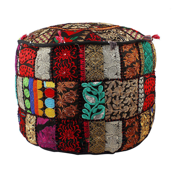 Indian Round Patch Work Embroidered Ottoman Pouf, Indian Round Ottoman Stool
