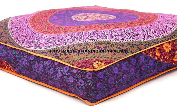 Square Mandala Multi Color Floor Pillow Indian Cushion Cover Pouf 35x35