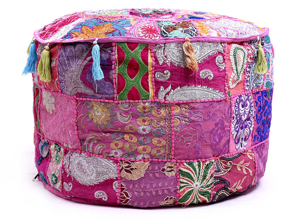 Mandala Pouf Ottoman Round Indian Ottoman Handmade Traditional Decorative