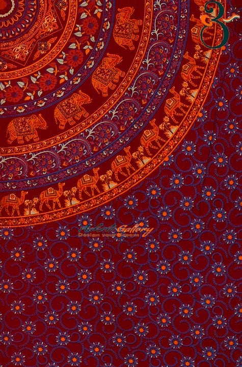 Indian Single Tapestry Mandala Cotton Maroon Flower (Blue Feeling) Tapestry Wall Hanging Handmade Wall Decor Single Bedspread