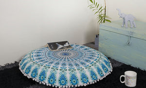 Indian Mandala Floor Pillows Home Decorative Round Cushion Cover 35""
