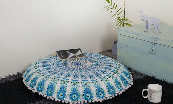 Indian Mandala Floor Pillows Home Decorative Round Cushion Cover 35