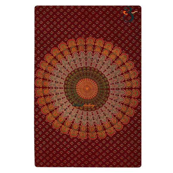 Handmade Single Indian Old Peacock Maroon Tapestry Wall Hanging Bohemian Bedspread Throw