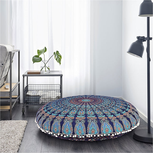 Indian Mandala Floor Pillows Round Meditation Cotton Cushion Cover Ottoman Pouf